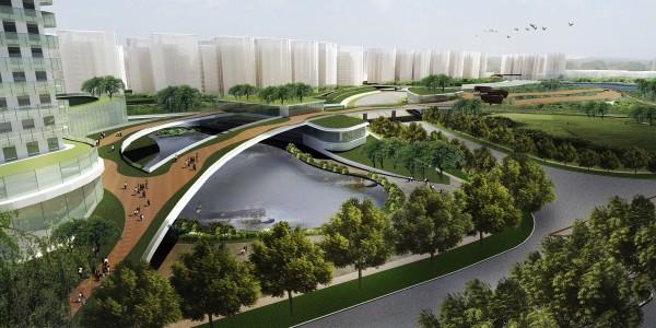 Bidadari_View towards Waterscape at Commercial Parcel